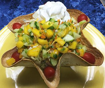 Chipotle Chicken Tostada Salad with Mango Salsa