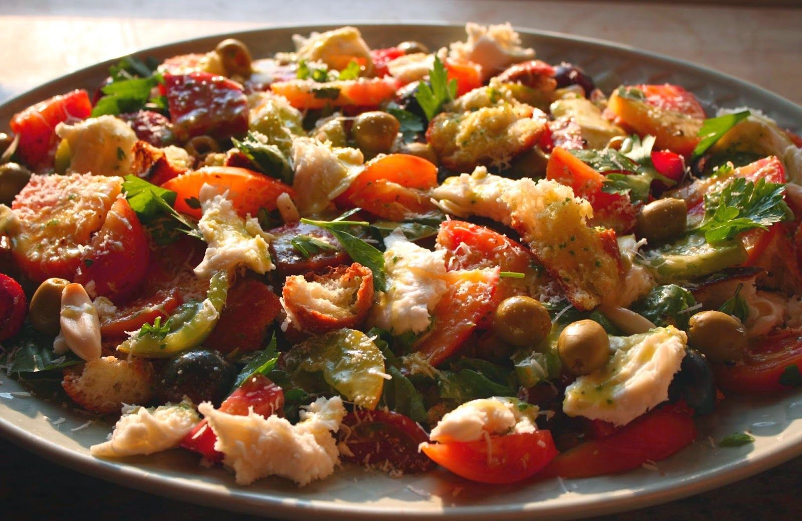 Panzanella Salad with Mozzarella Fresca