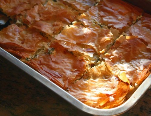 Spanakopita with Fall Greens and Garlic Olive Oil