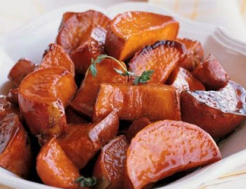 Glazed Sweet Potatoes with Maple Balsamic Gastrique