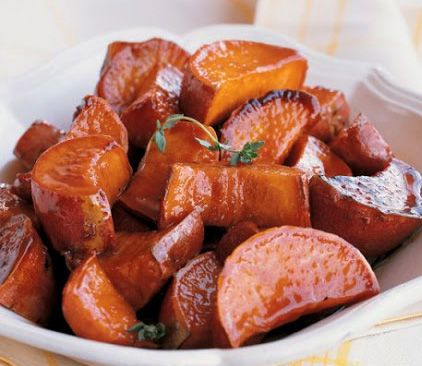 Glazed Sweet Potatoes with Maple Gastrique