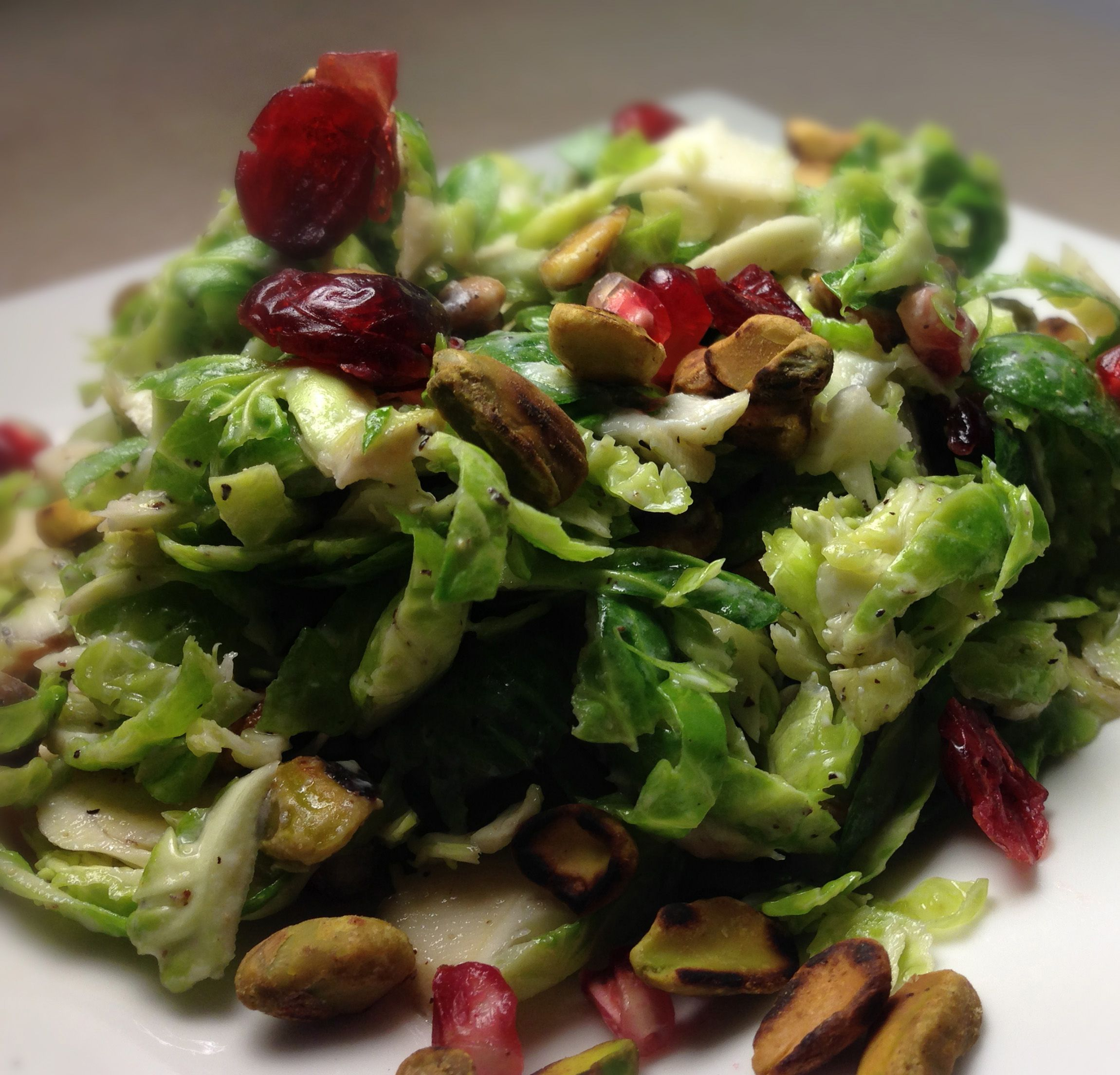 Brussels sprout salad with craisens and pistachios