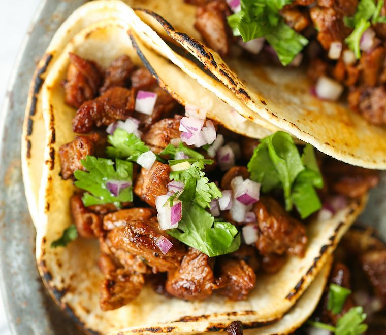 Mexican Street Tacos with Cilantro and Roasted Onion olive oil