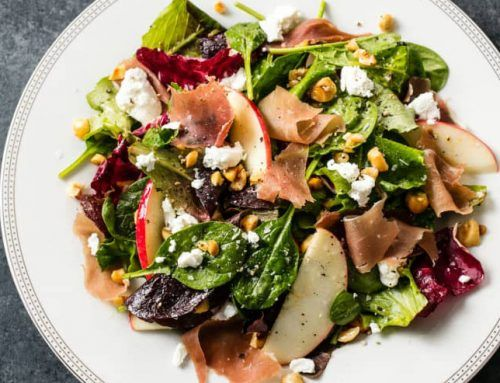 Prosciutto, Apple, and Goat Cheese Salad with Fig Vinaigrette