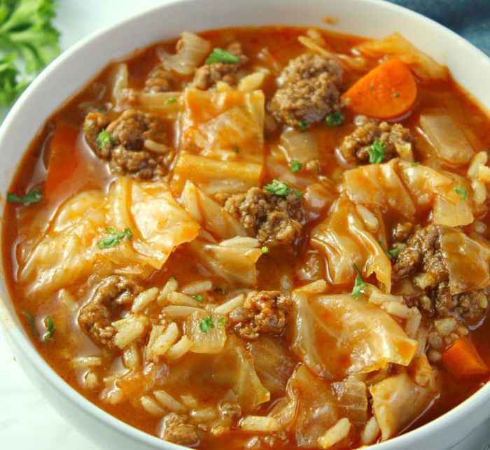 Olive Oil Cabbage Roll Soup