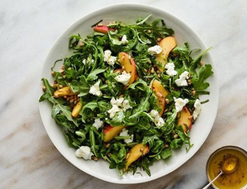 Arugula Salad with Peaches, Goat Cheese and Basil
