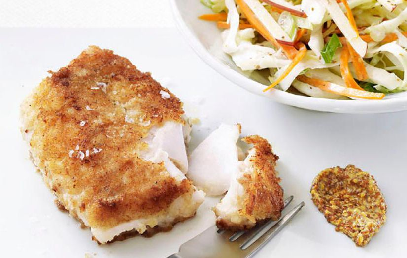 Pan Fried Cod in Olive Oil with Slaw